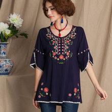 555c136527f 2019 Vintage 70s Mexican Floral Embroidery Boho Women Hippie Mini Dress  Women Soft Cotton clothing Summer