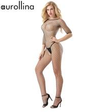 Nylon Black Sex Tempted Full Body Fishnet Bodystocking Half Sleeve Milf Mature Woman Blond Sexy Butt Open Crotch Lace Bodysuit