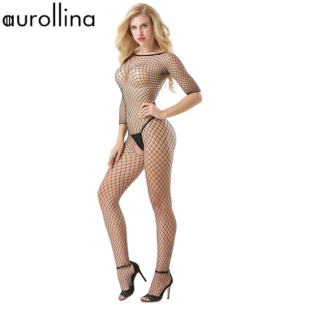 7b9df5073 Nylon Black Sex Tempted Full Body Fishnet Bodystocking Half Sleeve Milf  Mature Woman Blond Sexy Butt Open Crotch Lace Bodysuit