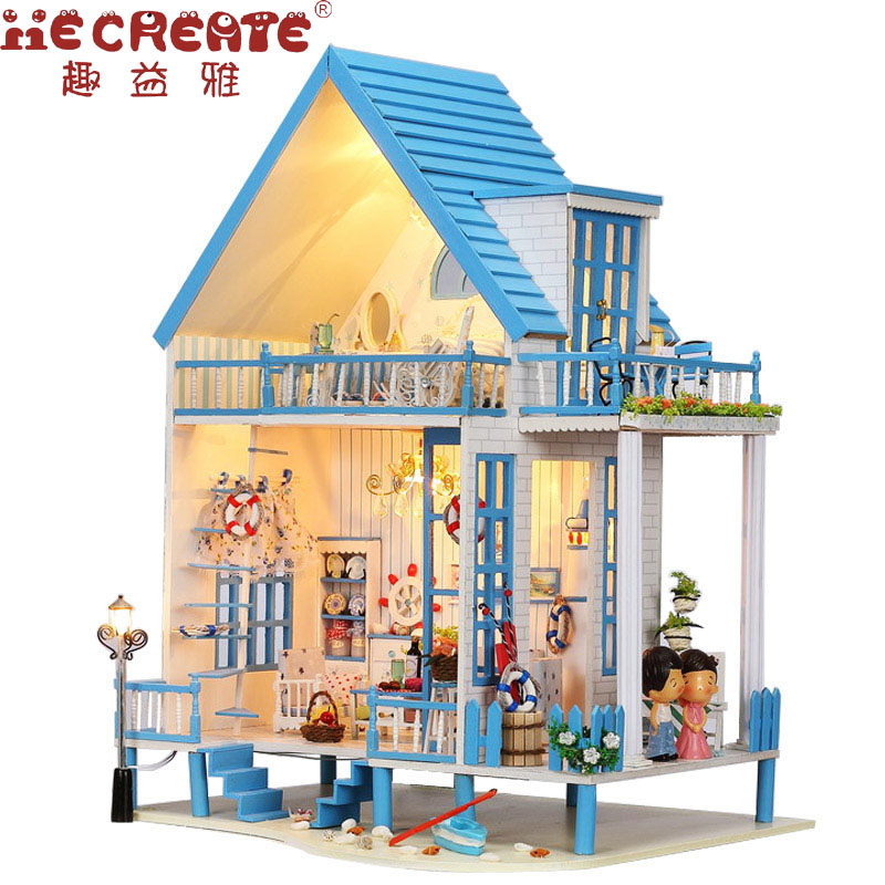IIE CREATE Doll House DIY Dollhouse Miniature Beach House with Furniture for Doll Wooden House Toys For Children Birthday Gift diy cctv metal camera housing case indoor outdoor ip66 cctv camera ir waterproof camera metal housing cover