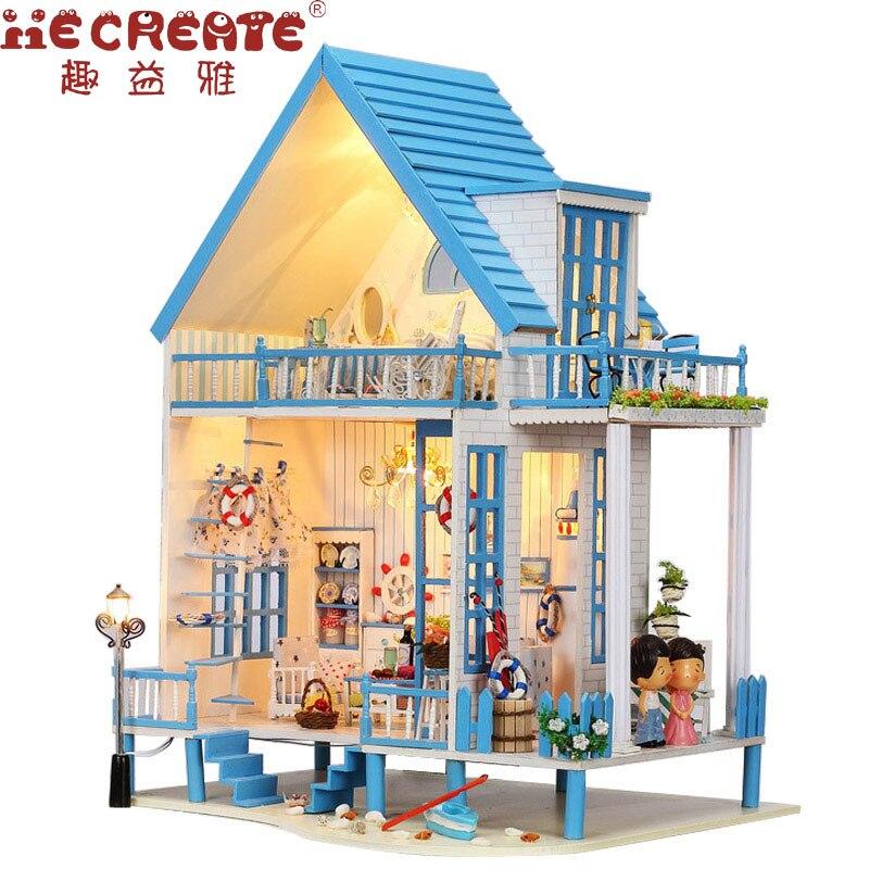 IIE создать кукольный домик ручной работы кукольный домик Миниатюрный пляжный дом с мебели для куклы деревянный дом, игрушки для детей подар