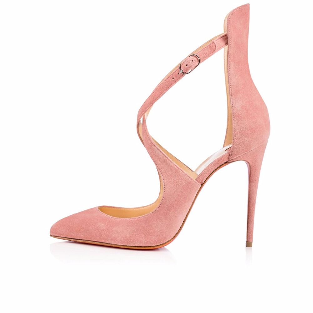 New Fashion Pointed toe Stiletto Big Size shoes High Heels Pink Pumps Crisscross Ankle Buckle Strap Shoes for Party Prom Dress цены онлайн