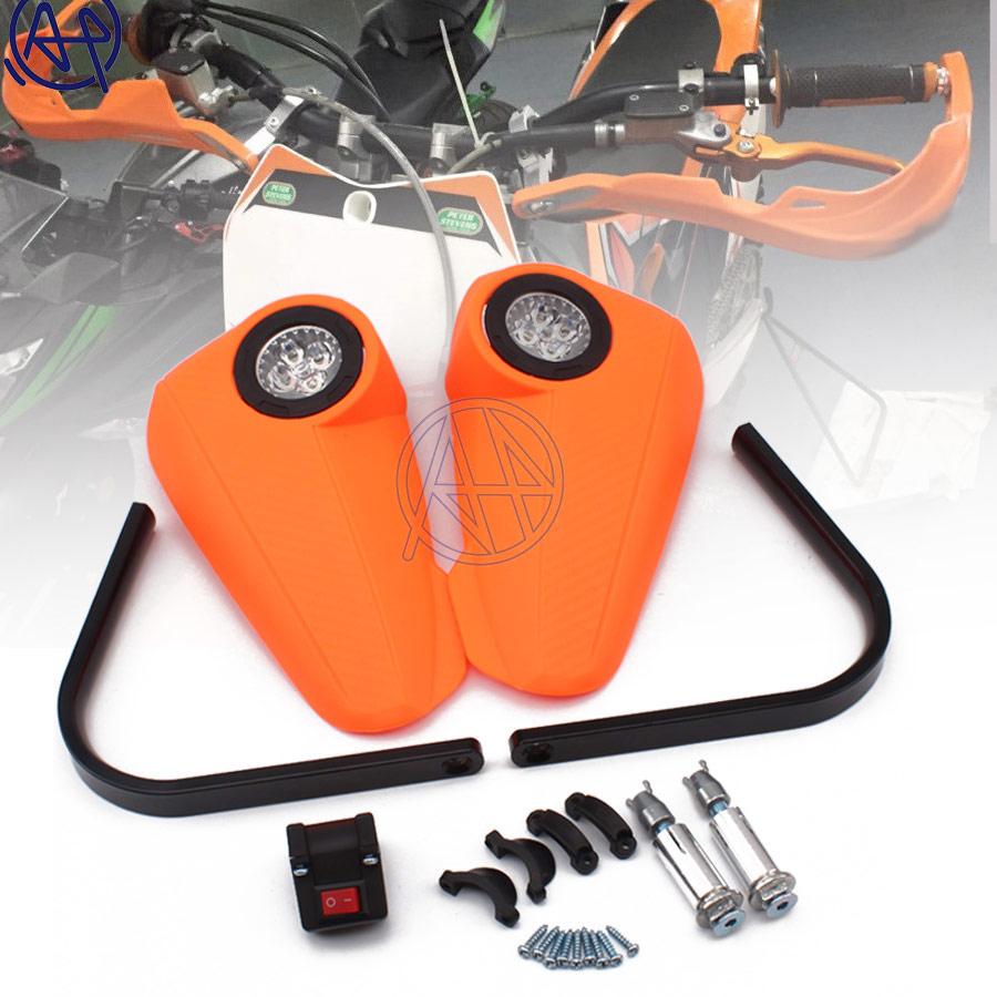 Garde-main Orange moto 7/8 ''22mm en plastique grille barre garde-main pièces Motorcross poignée gardes protecteur + lumière LED blanche