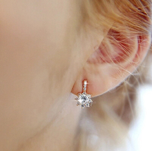 Silver earrings 2016 New Fashion Super Shiny Ice Flower CZ Diamond 925 Sterling Silver Stud Earrings for Women Girls Gift