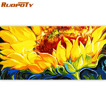 RUOPOTY 60x120cm Frame Sunflower DIY Painting By Numbers Modern Home Wall Art Canvas Painting Large Size For Living Room Decor