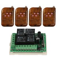 433 Mhz Wireless Remote Control Toggle Switch DC12V 4CH Relay Receiver Module And 1527 Learning Code