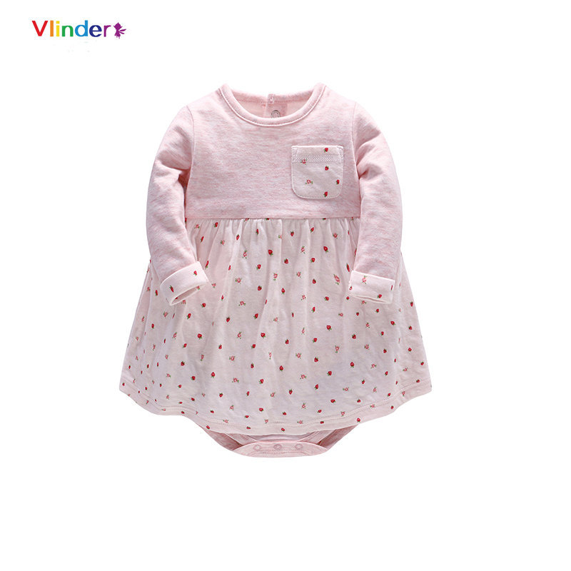 Vlinder 2018 New Fashion Baby Girls Spring Autumn Dresses Long Sleeves Infant Dresses Cute Pink Stripes Five Pointed Star Cotton
