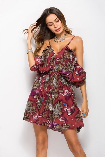Vestidos de Mujer corto vestido de verano hermoso Ropa barata vestido  fresco pastoral impresora manga brazalete b9adabc53d6