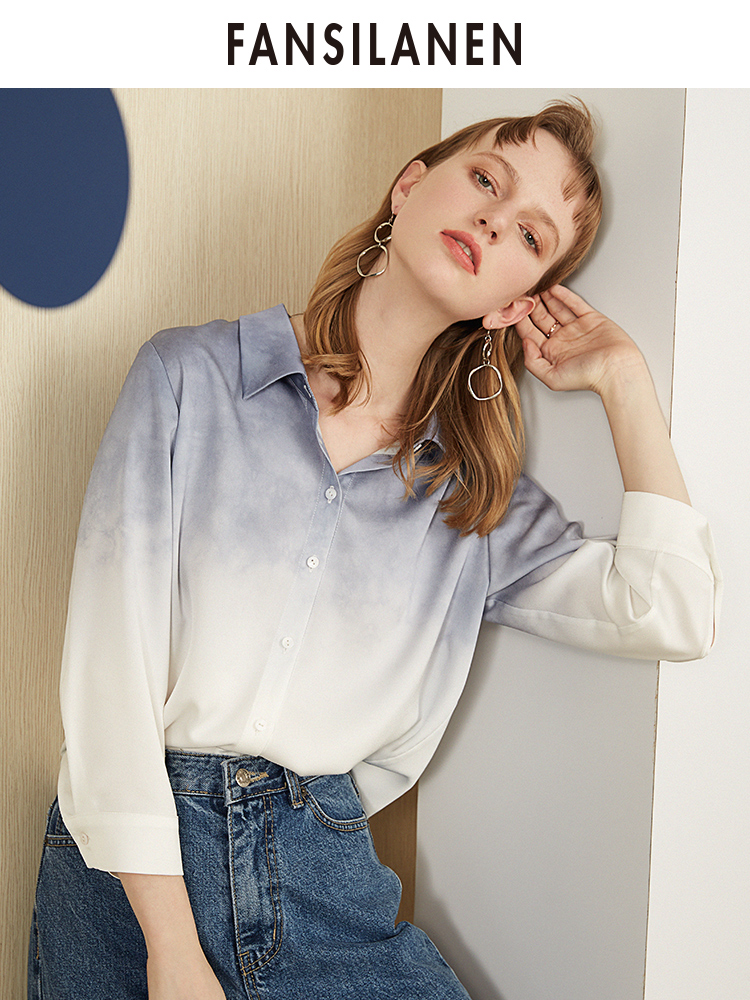 FANSILANEN 2019 New Arrival Fashion Summer/Spring Office Women Befree Tops Blouse Shirts Blouses Patchword Chiffon Female Z92083
