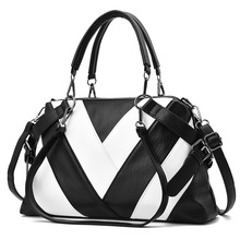 Tagdot Brand PU Large Leather Tote bags for women Fashion Handbags Shoulder bag Stitching black white red gray green pink 2018 цены