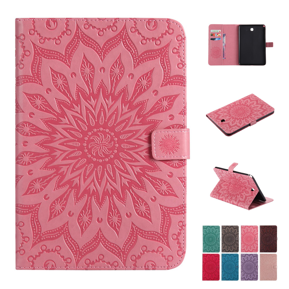 Case For Samsung Galaxy Tab A 8.0 T350 T355 Fashion Sunflower PU Leather Silicone Tablets Books Case Cover Shell