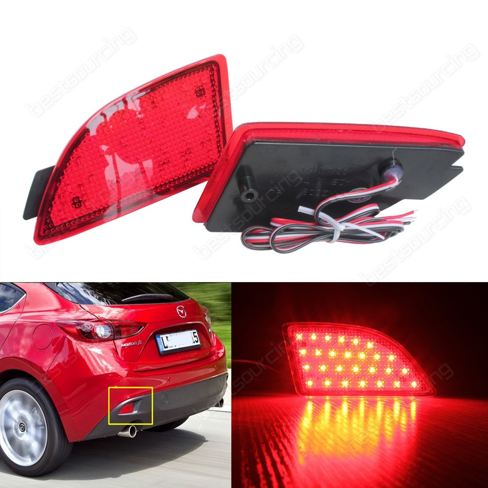2009-2013  Mazda3Axela Axela BM Axela BL Red LED Rear Bumper Reflector Brake Stop Tail Light(CA241) ветровик rein для mazda 3 bl 2009 2013 хэтчбек на накладной скотч 3м 4 шт