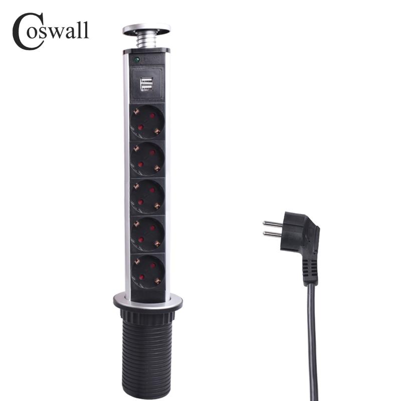 COSWALL 16A PULL POP UP Tomada 5 Poder 2 USB Porto de carregamento Soquetes De Desktop De Mesa De Cozinha Retrátil Bancadas Bancada DA UE plugue