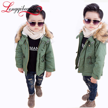 2015 New Boys Jackets Winter Coat Solid Long Sleeve Boys Coat Hooded Kids Clothes Fashion Thick Warm Children Clothing 2 Colors