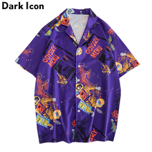 Dark Icon Astronaut Full Printed Vintage Street Shirts Men Short Sleeved Mens 2019 Summer Hawaii Shirt