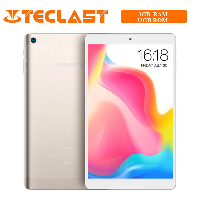 Teclast P80 Pro Tablet 3GB RAM 32GB ROM Android 7.0 MTK8163 Quad Core 1.3GHz Dual WiFi GPS HDMI Dual Cameras 1920*1200 PC Gold(China)