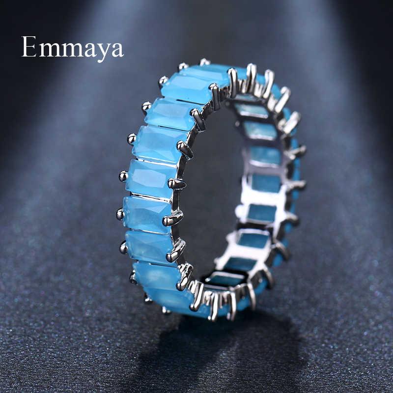 EMMAYA เงินสีการออกแบบที่ไม่ซ้ำกันแหวน CZ Paved Zircon แหวนแฟชั่นผู้หญิงเครื่องประดับ