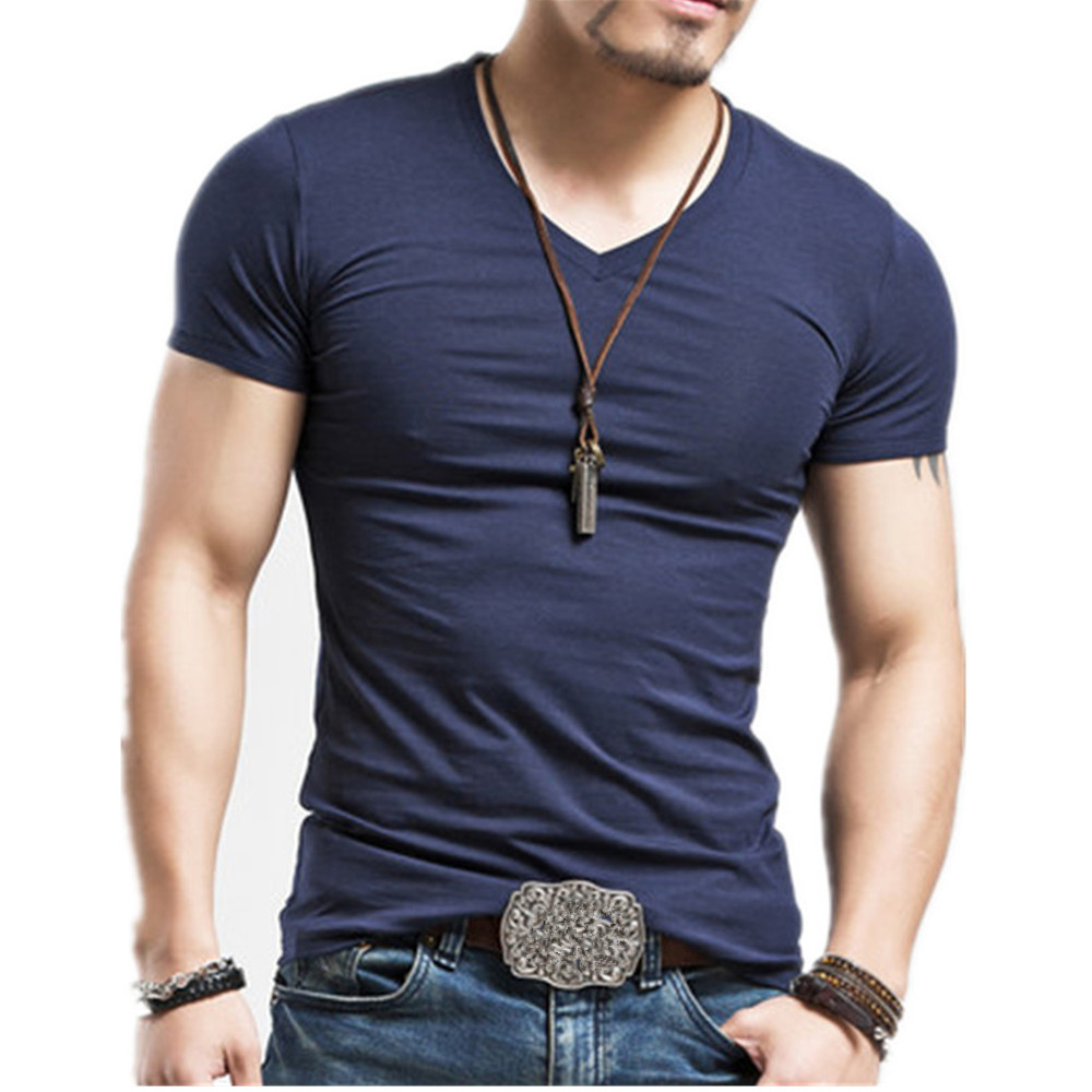 Fitness Casual Mens V neck Man T-shirt For Male T Shirts 9