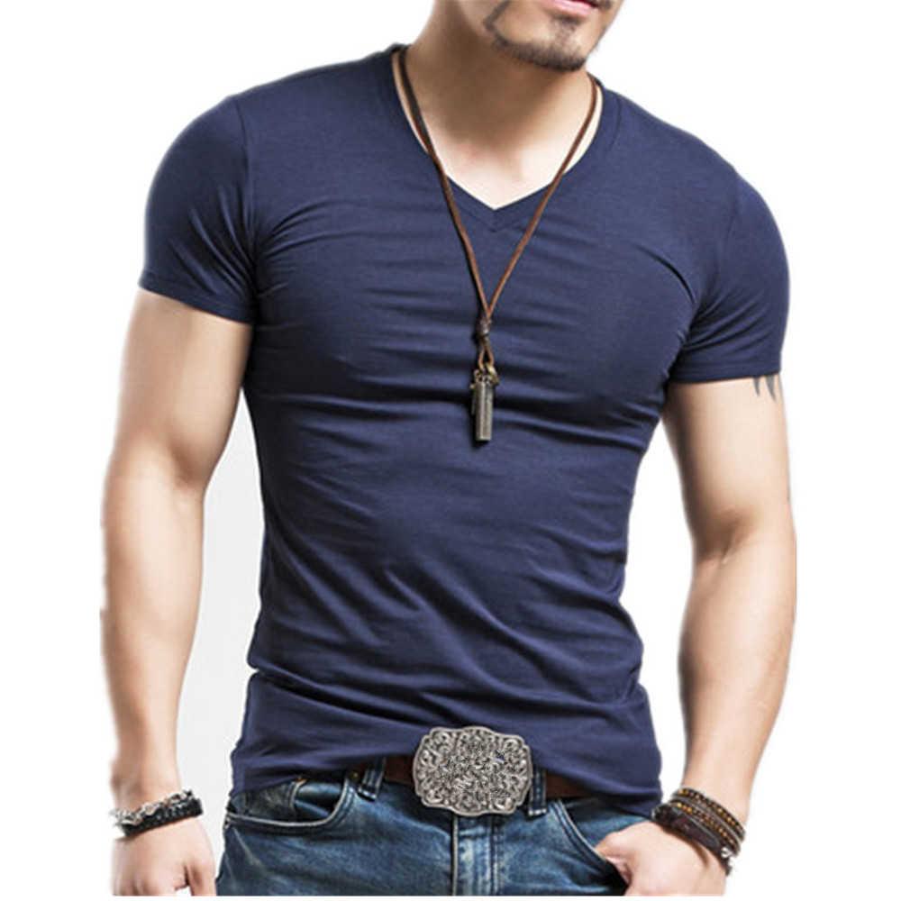 2019 Mrmt Merek Pakaian 10 Warna Pria T Shirt T-shirt Kebugaran Pria V Neck Man T-shirt untuk Pria Tshirts S-5XL gratis Pengiriman