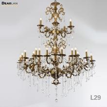 цена Luxurious Large Brass Color Crystal Chandelier Lamp Crystal Lustre Light Fixture 3 tiers 29 Arms Hotel Lamp онлайн в 2017 году