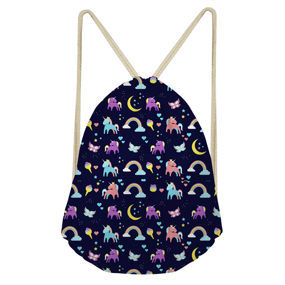 ThiKin Cartoon Kids Unicorn Drawstring Bag Small School Bag For Girls Cute Women Travel Storage Backpack Custom
