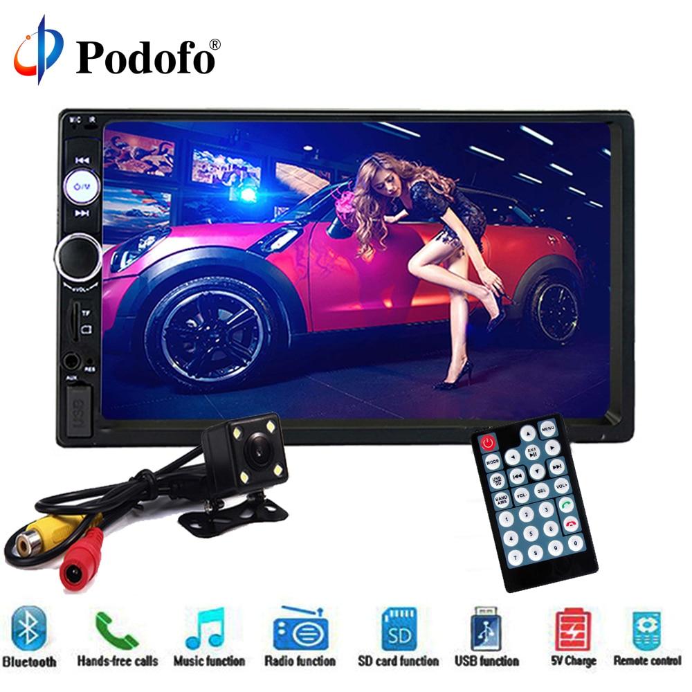 Podofo 2 din Автомагнитолы мультимедийный плеер аудио стерео 7 HD 2 Din Авторадио Bluetooth USB FM радио MP5 плеер резервного копирования монитор автомобиля