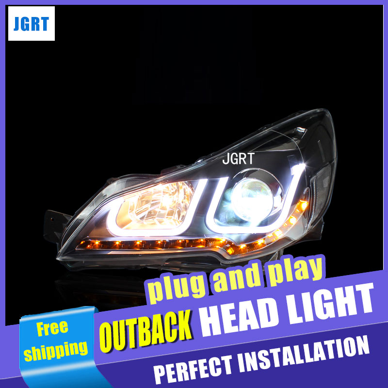 car styling For outback headlight assembly U angel eyes 2010-2013 For outback xenon lens h7 with hid kit 2 pcs. 2pcs purple blue red green led demon eyes for bixenon projector lens hella5 q5 2 5inch and 3 0inch headlight angel devil demon
