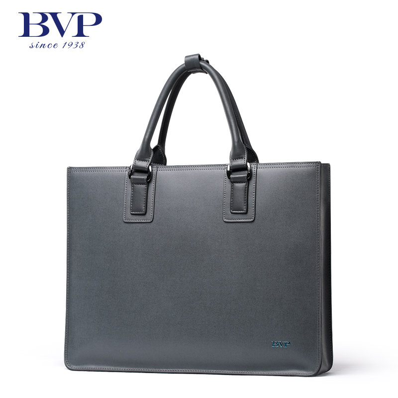 BVP - High-end Business Elegant Grey Genuine Leather Designer Fashion Men's Brifecase Male Portfolio Maletin Hombre J35 bvp high end 100