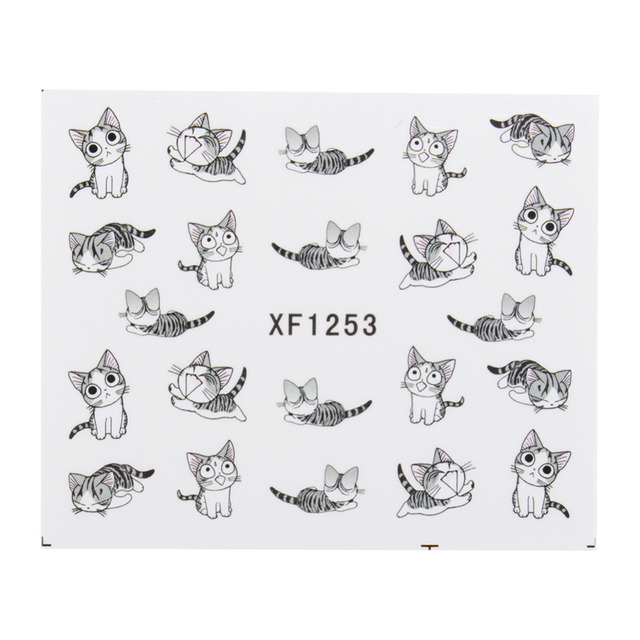 New Fashion Lovely Sweet Water Transfer 3D Grey Cute Cat Nail Art Sticker Full Wraps Manicure Decal DIY