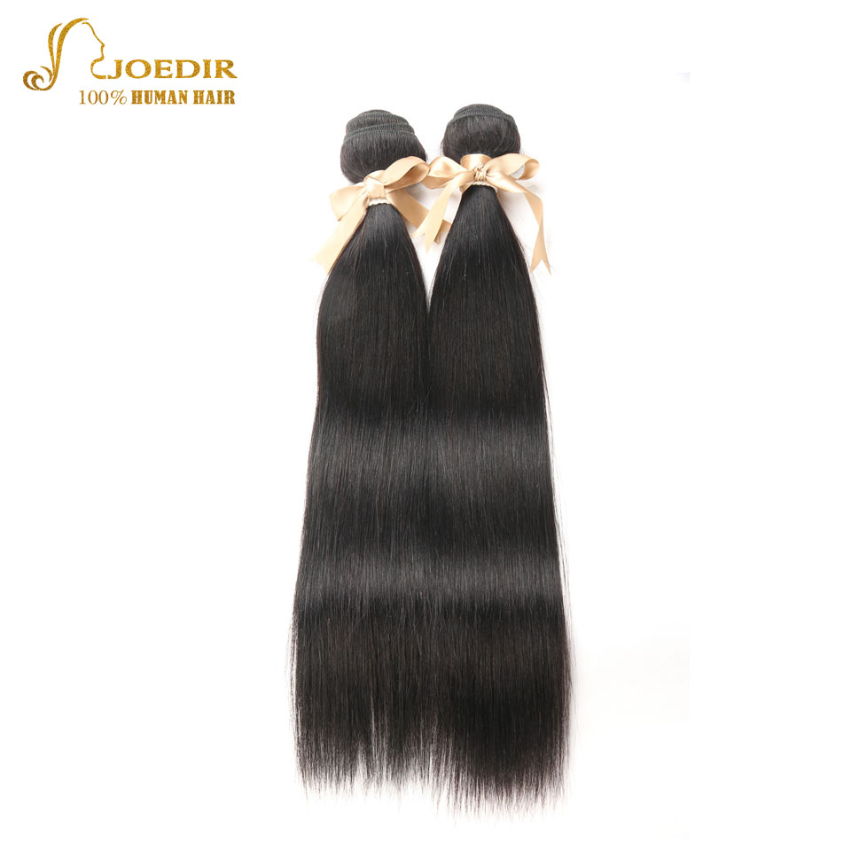 Joedir Hair 2 Bundles Indian Straight Hair 8-30inch Straight 100% Remy Human Hair Weave Bundles Machine Double Weft