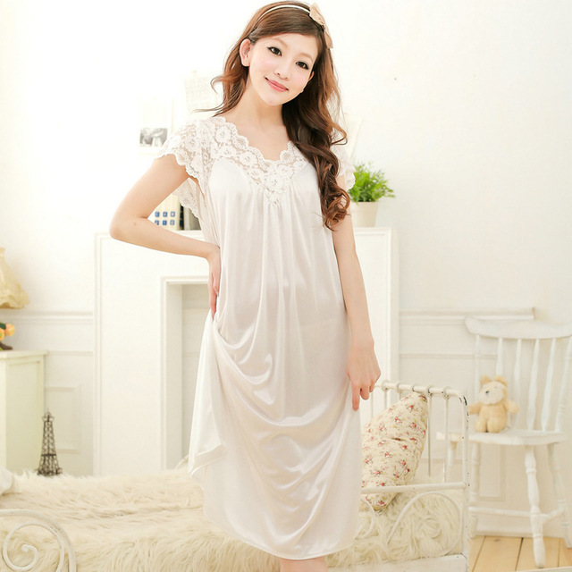Summer Sexy Female Lounge Sleepwear Long Design Loose Female Ice Silk Lace  Princess Palace White Nightgown 0e2308a24