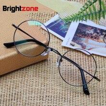 Brightzone טהור טיטניום לשחזר דרכים עתיקות משקפיים מסגרת איש אופטיקה קוצר ראייה משקפיים מעגל מסגרת גברתי משקפיים מסגרת E 8018