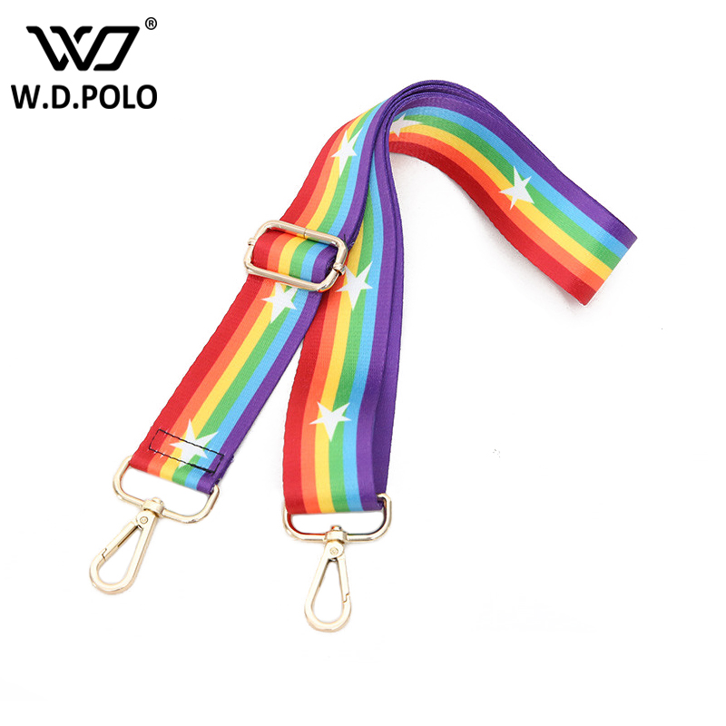 WDPOLO New handbags strap rainbow design national canvas bag straps new trendy easy holding shoulder straps bags belts C265