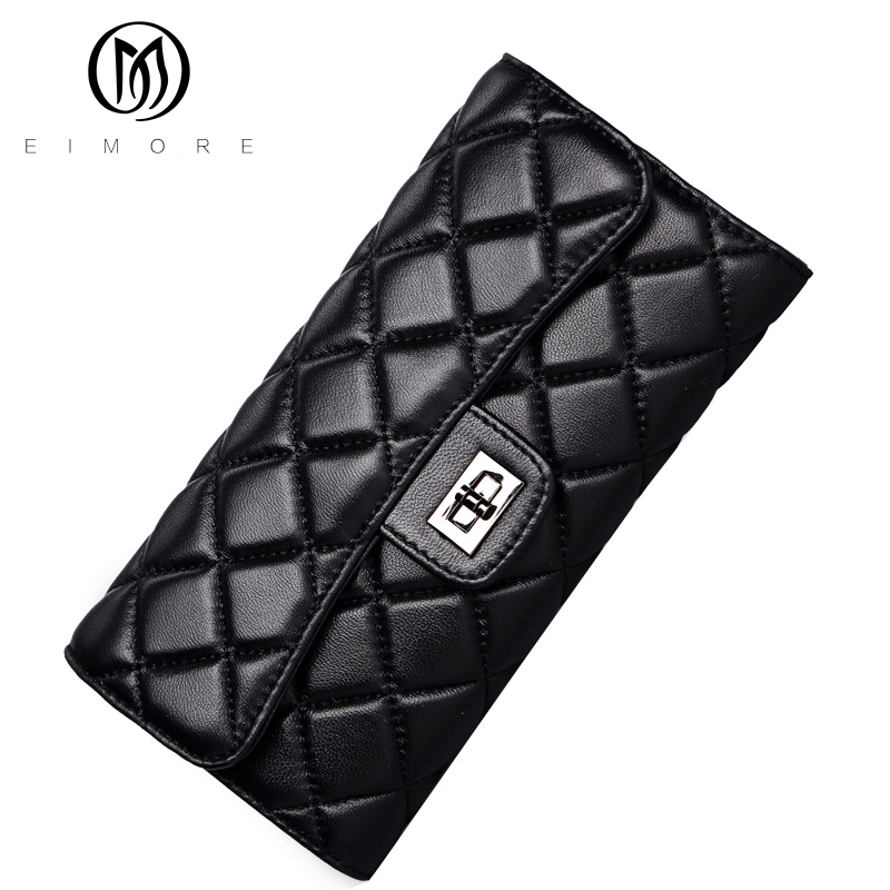 ФОТО EIMORE Fashion Ladies Purses Genuine Leather Wallets Card Holder Luxury Famous Brands Designer Women Wallets Long Wallets 2017