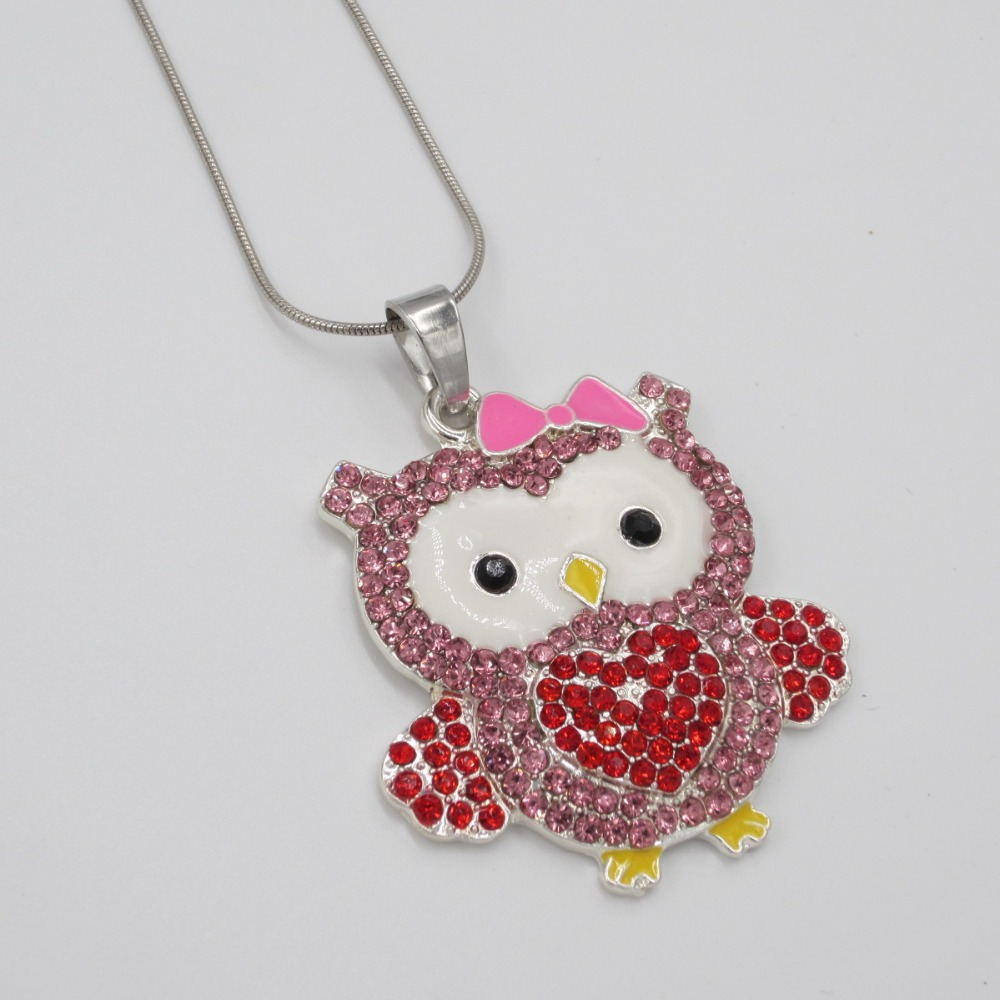 Lovely Kids Birthday Gift Necklace Jewelry Accessories Bubblegum Girls Pendant Chokers Necklace Child Exquisite Owl Charm