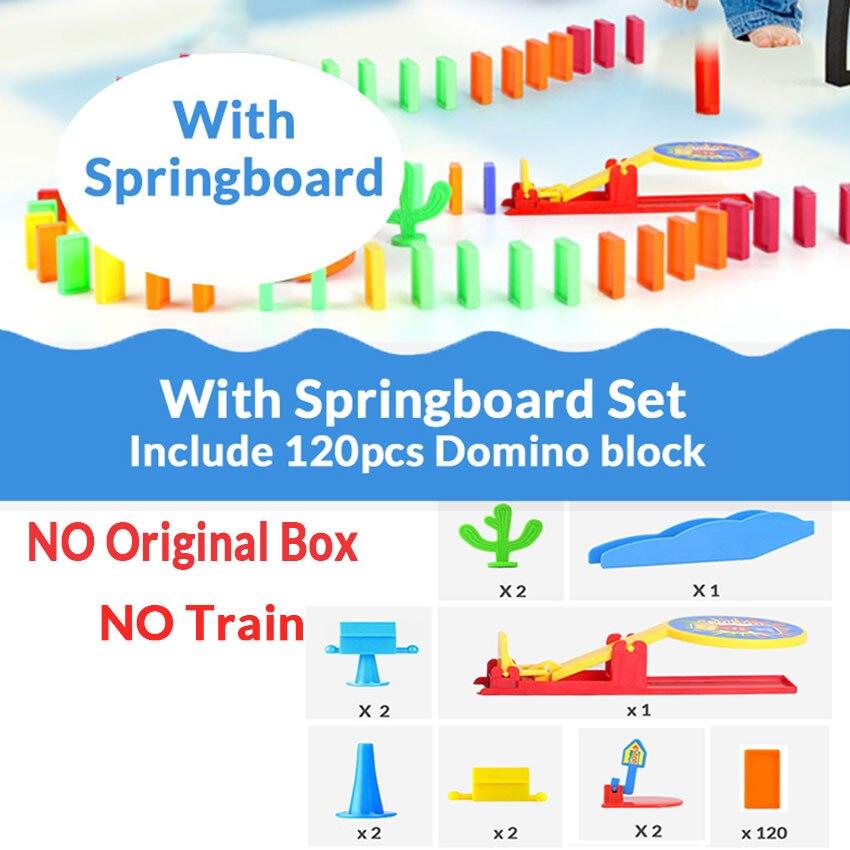 Автоматическая укладка домино кирпич Поезд Автомобиль набор звуковой светильник дети красочные пластиковые блоки домино игра игрушки набор подарок для девочек и мальчиков - Цвет: Springboard set N