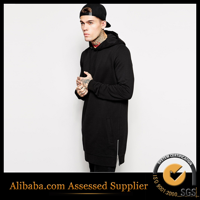 Fleece hoody Plus Size Hip Hop long hoodie Streetwear Longline Side Zipper Hoodies Sweatshirts men hoodies &amp ; sweatshirts