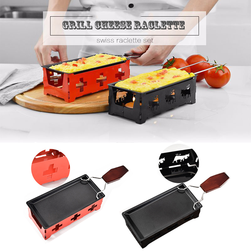 Grill Cheese Raclette Set Non-stick Griller Mini BBQ Cheese Board Baked Cheese Oven Iron Swiss Cheese Melter Pan Tray Dropship image