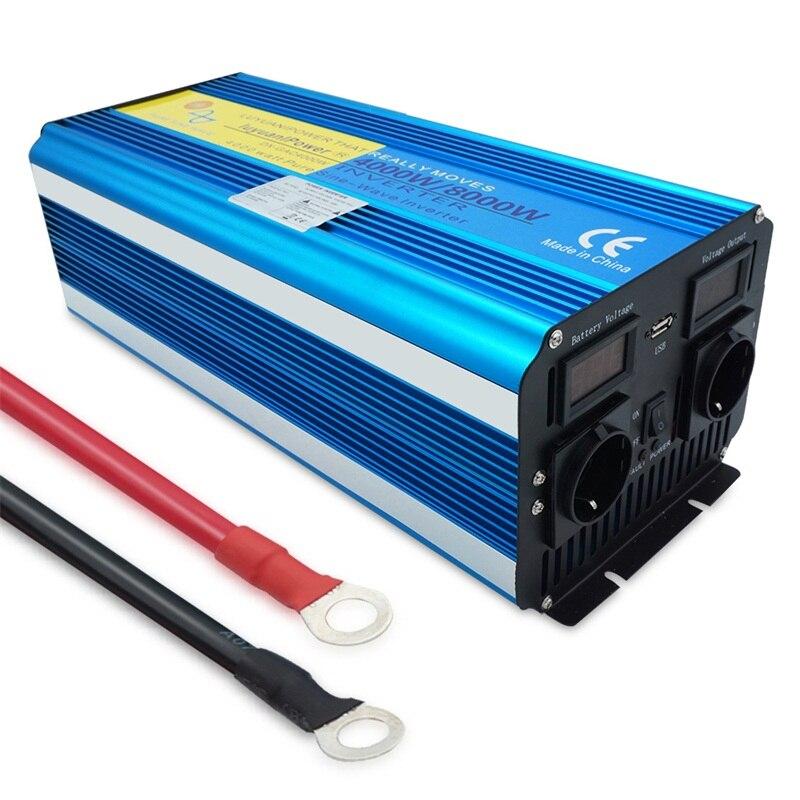 8000W czysta fala sinusoidalna przetwornica napięcia wyświetlacz DC 12V/24V do AC 220V/110V z 3.1A USB podwójne gniazdo ue konwerter zasilanie energią słoneczną