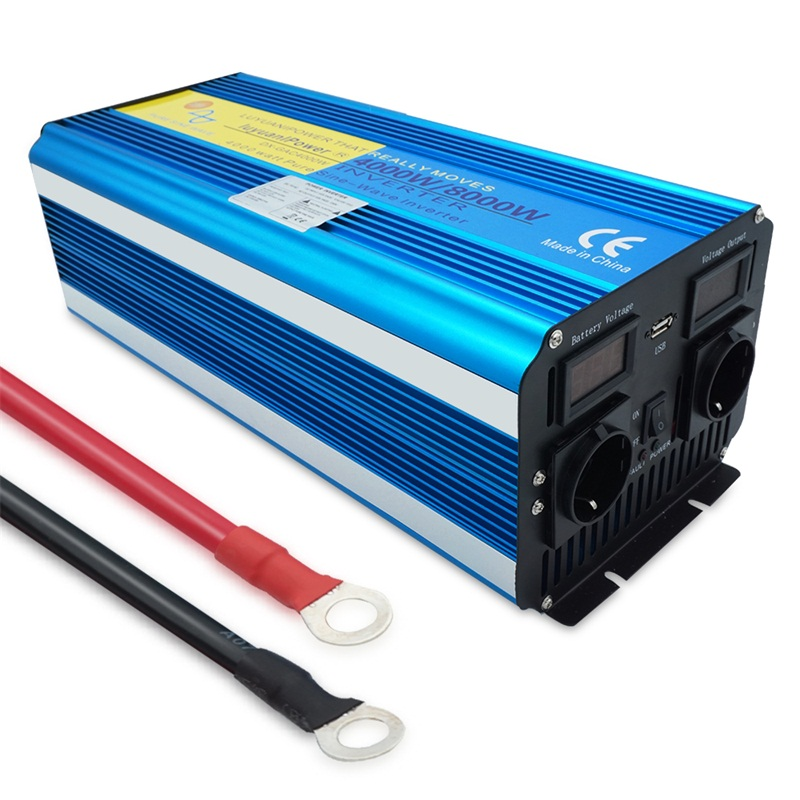 8000W pure sine wave power inverter display DC 12V 24V TO AC 220V 110V with 3 1A USB dual EU socket Converter Supply Solar Power