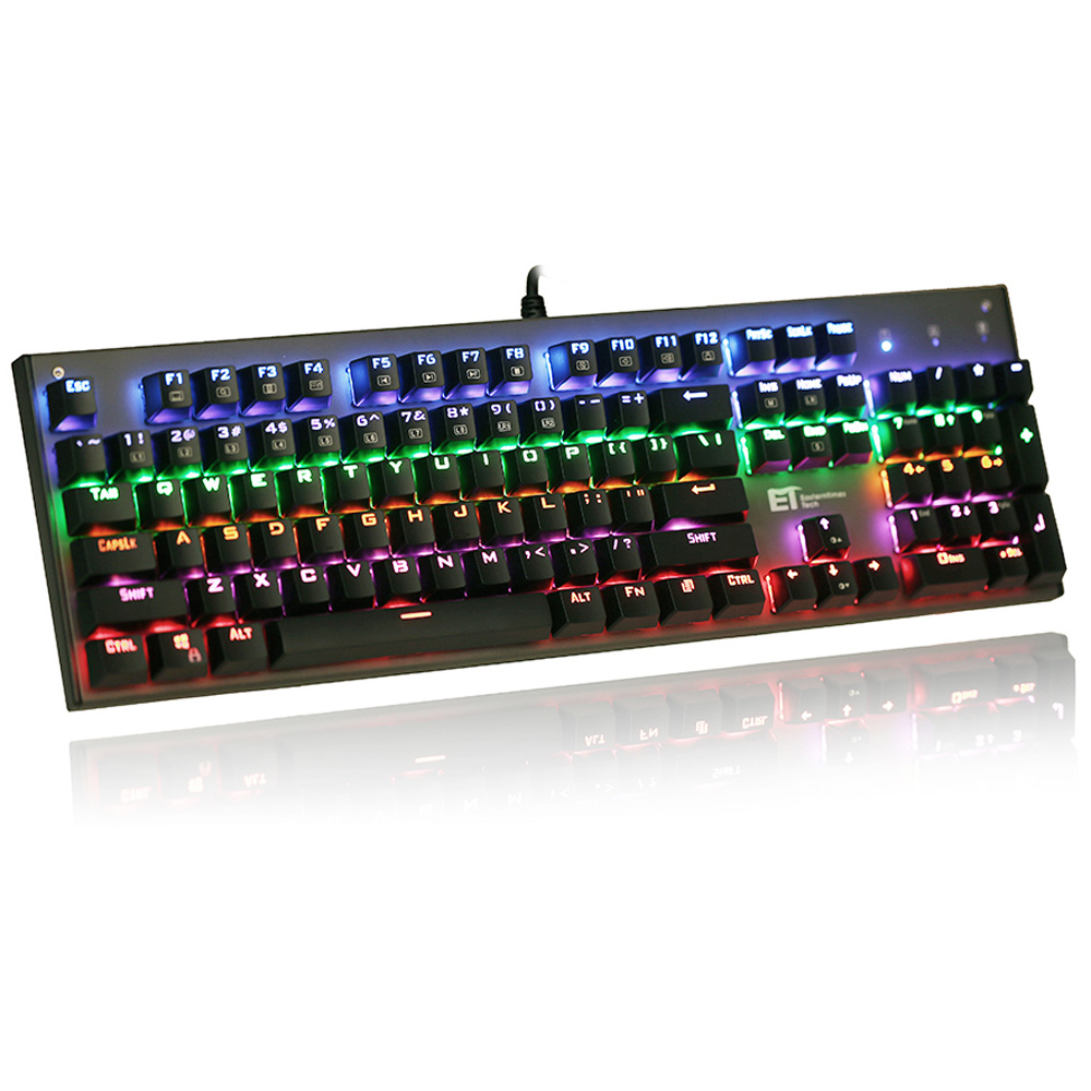 Mechanical Gaming Keyboard, Wired Game Keyboard with LED 9 Colors Backlit, Blue Switches - 104 Keys new professional gaming mechanical keyboard 104 keys colorful backlit blue switch game keyboard for pc laptop