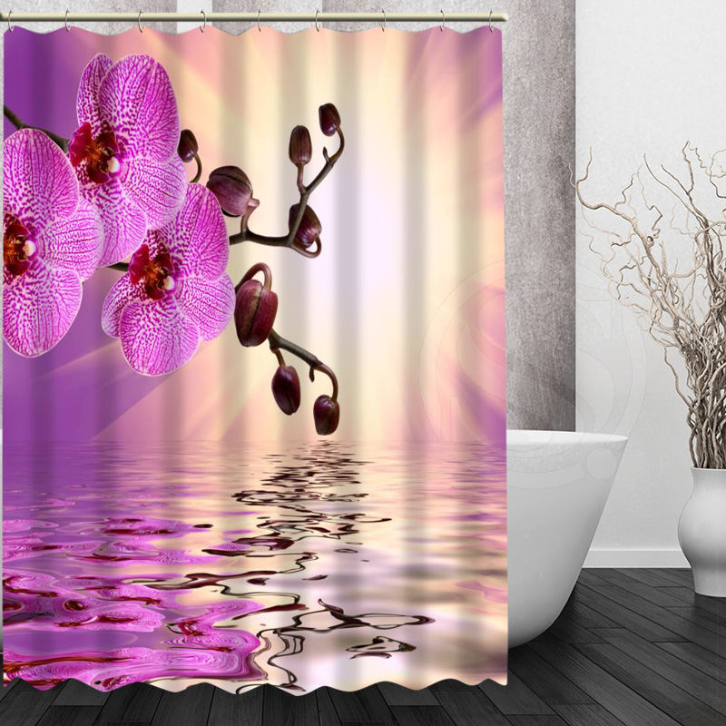 Custom Elegant Orchid Flower Shower Curtain Modern bathroom Waterproof Bath screens Curtains