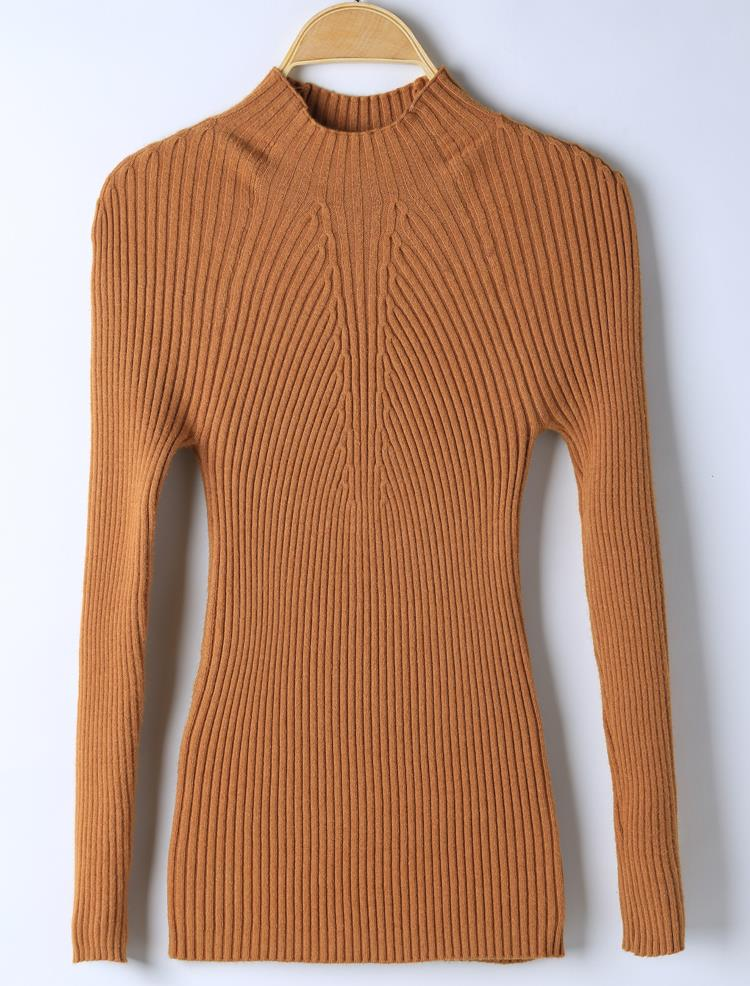 New 17 Spring Fashion Women sweater high elastic Solid Turtleneck sweater women slim sexy tight Bottoming Knitted Pullovers 28