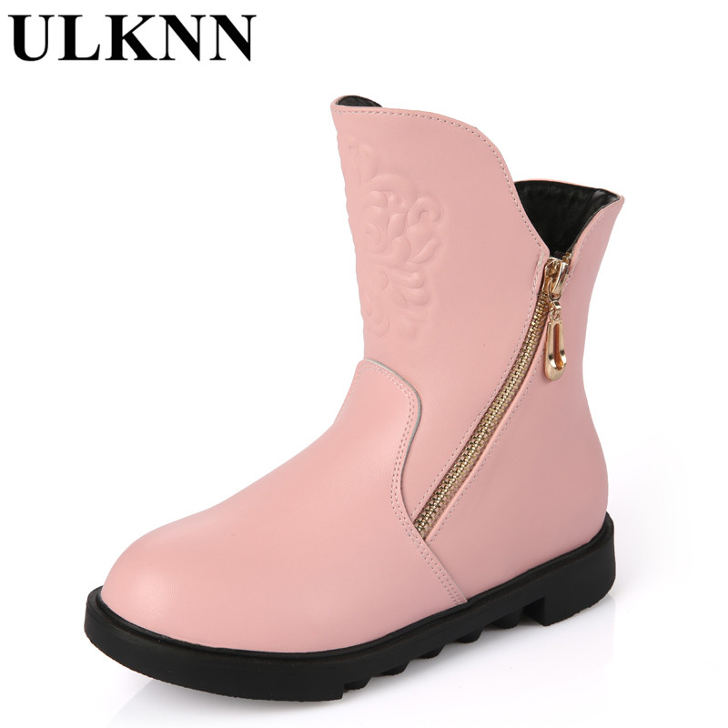 Girls Smart Ulknn Genuine Leather Child Slip-resistant Female Snow Boots Child Boots Male Medium-leg Child Cotton-padded Shoes Soft Outsole A Wide Selection Of Colours And Designs Boots