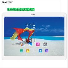 10.1 pulgadas Tablet PC 3G 4G Octa Core Llamada de Teléfono de tarjeta de Llamada Android 6.0 WiFi GPS Tablet pc 1920×1200 Tabletas Ultra Delgado Dual SIM