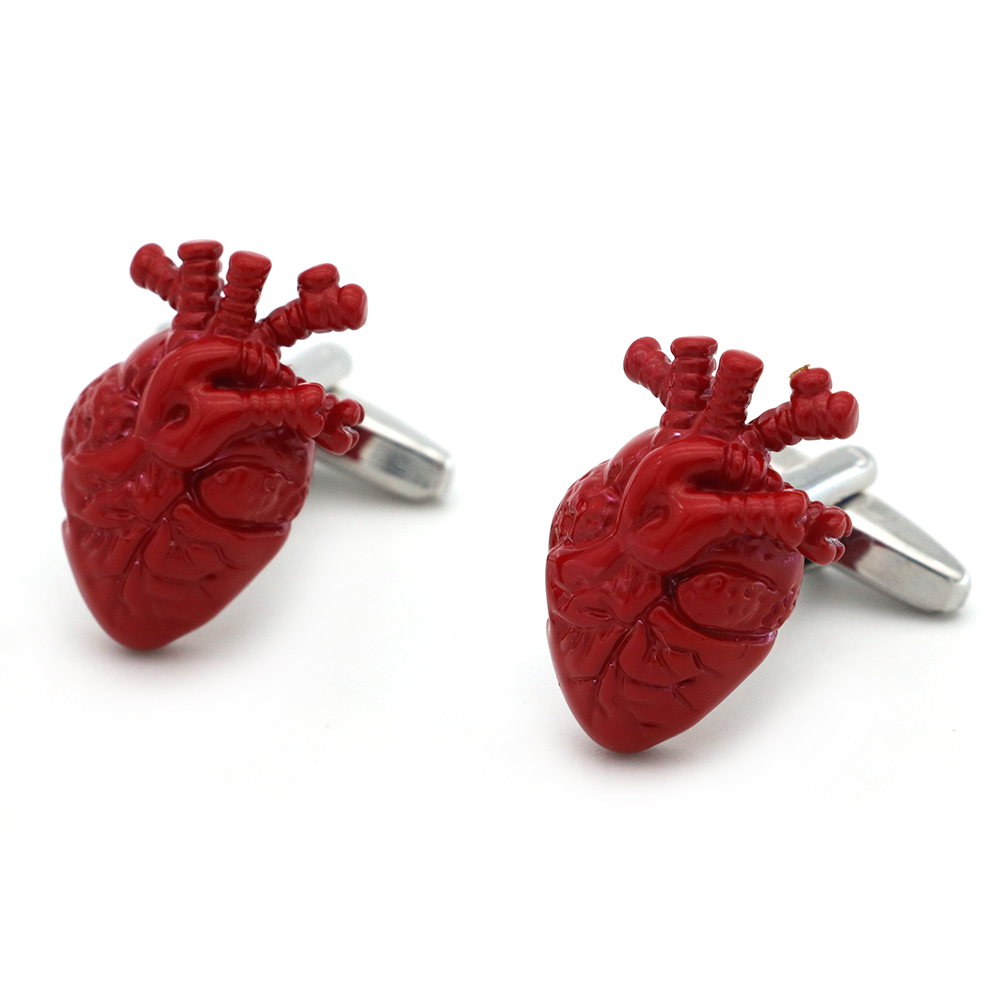 Men's Doctor Cuff Links Copper Material Red Color Bloody Heart
