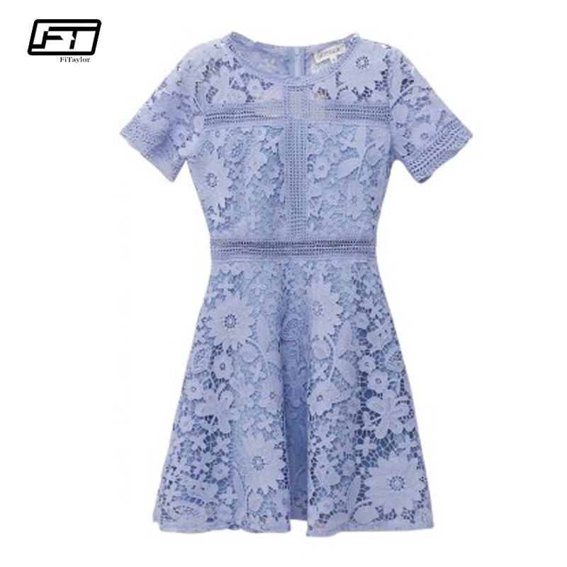 Fitaylor 2018 Summer Hollow Out Sexy Club Lace Dress Women O