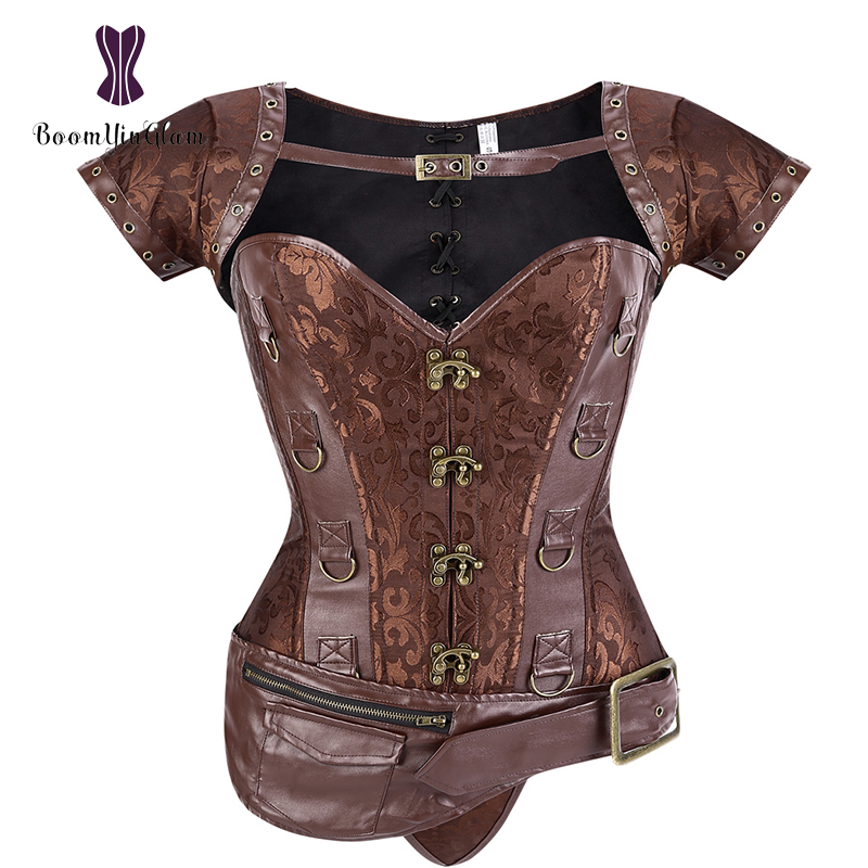 Women's Setampunk Clothing Faux Leather   Corsets   Gothic Overbust   Bustier     Corset   With Detachable Pockets 939#