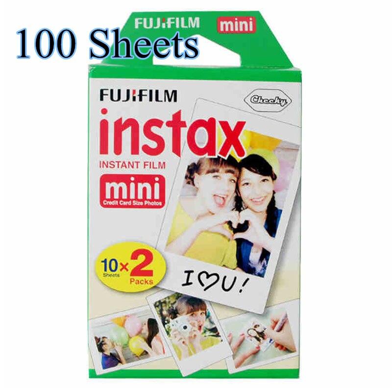 100 feuilles Fujifilm Instax Mini film pour appareil Photo instantané Mini 8 7 s 25 50 s 90 bord blanc 3 pouces Film Photo papier