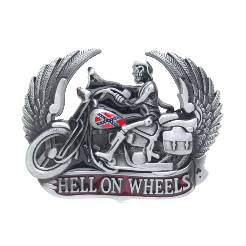 Hell On Whells Motorcycle Skullrider With Wings Belt Buckle